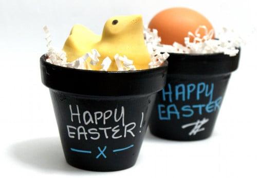 "Easy DIY Chalkboard Easter ""Basket"" Pots"