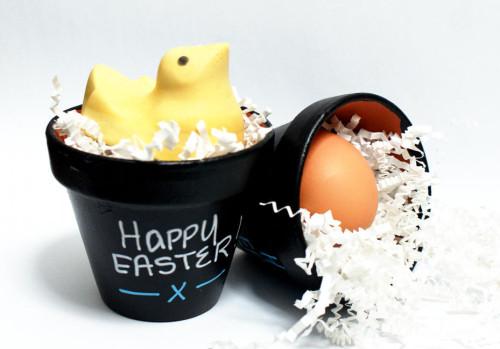 """DIY Easter Craft Project - Easy Chalkboard Easter """"Basket"""" Pots"""