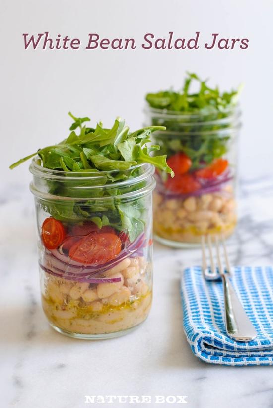 Homemade Lunch Recipe - Easy White Bean Salad in Mason Jars