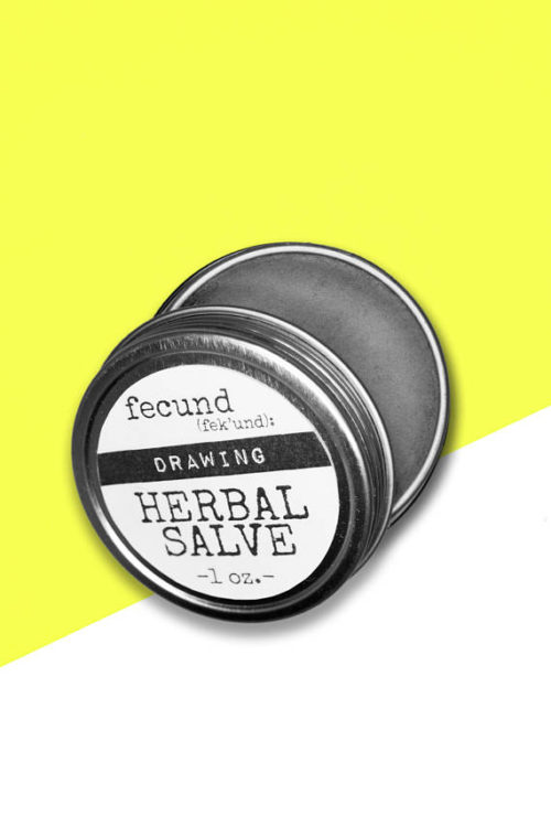 Black Drawing Salve from Fecund: Herbals Bath and Body Products! Based on two simple ingredients, herbal infused oil and beeswax, salves provide powerful relief for a variety of ailments. Reach for this 'Drawing' Herbal Salve to help remove splinters and ingrown hairs, as well as heal boils and blisters. #skincare #blacksalve #homeremedy #drawingsalve #handmade #etsy