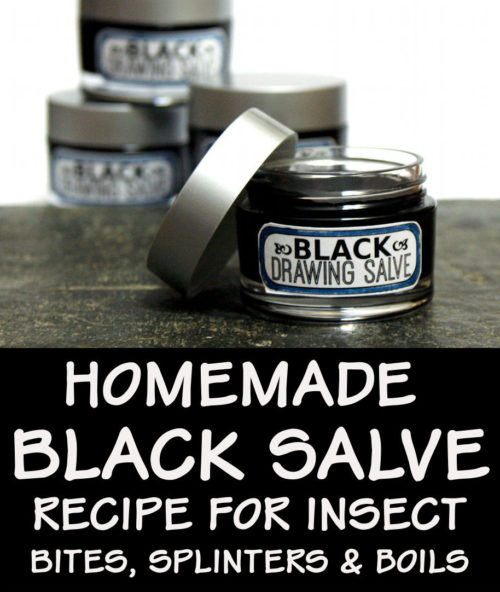 Black Drawing Salve Recipe and Uses: How to make black drawing salve as a traditional home remedy for splinters, boils, bee stings and more. Don't have black drawing salve in your herbal apothecary? Learn why this is one natural home remedy you don't want to be without. Learn how to make an Amish black drawing salve recipe with honey and green tea for a fun twist to soothe insect bites as well as draw out toxins, splinters, boils and more, as well as promote healing! #blackdrawingsalve #remedy
