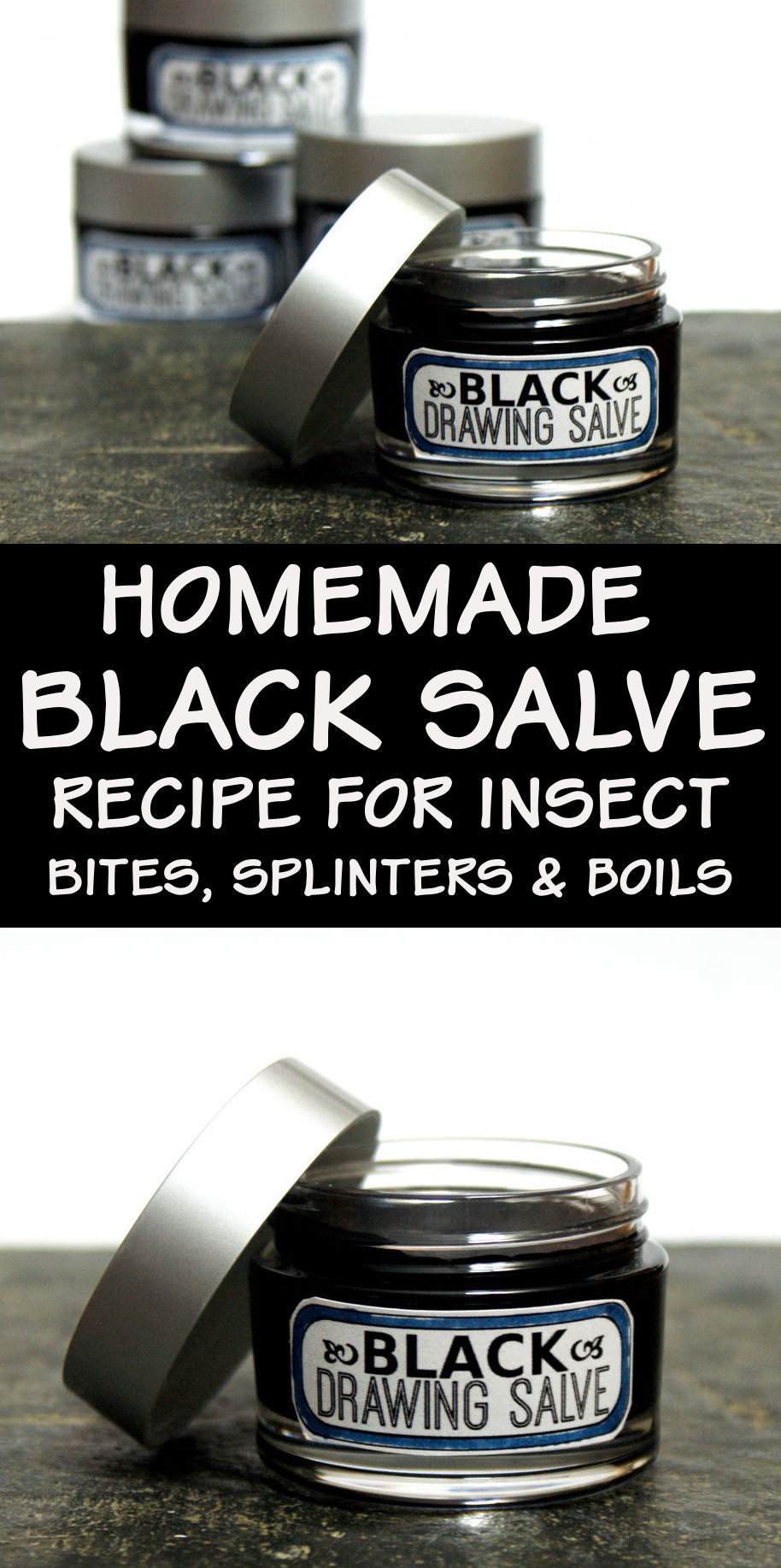 Black Drawing Salve Recipe! This homemade black drawing salve recipe works as a natural home remedy for splinters, boils, acne, bee stings, poison and infections. A twist off traditional black drawing salve recipes, this black drawing salve also contains honey and antioxidant green tea. #blacksalve #salve #medicine #skincare #diy #recipe #drawingsalve #natural #botanical #remedy #homeremedy #naturalremedy