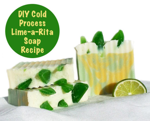 "DIY Lime-a-Rita Homemade Soap Recipe with ""Lime"" Wedges and Coarse Margarita Sea Salt"