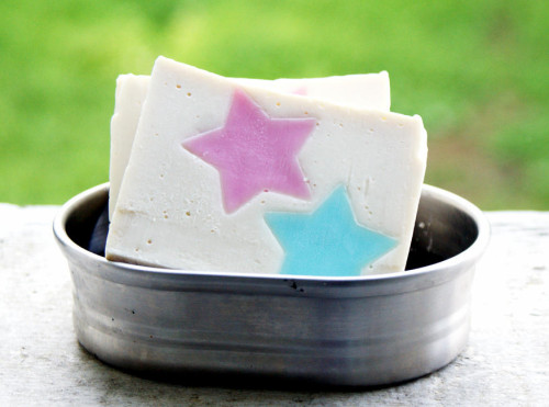 DIY Fourth of July Craft Project - Homemade Stars Forever Soap Recipe with Embedded Stars in Red, White and Blue
