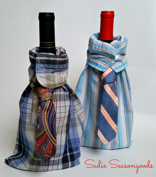 DIY Upcycled Mens Shirt Wine Gift Bag for Father's Day