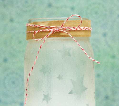 DIY Etched Mason Jar with Stars