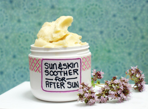This natural After Sun Skin Soother Cream Recipe is made from natural skin nourishing oils, shea butter, essential oils and aloe vera gel. It's perfect for replenishing those stubborn spots of dry skin or for soothing and speeding up the healing process after a sunburn.
