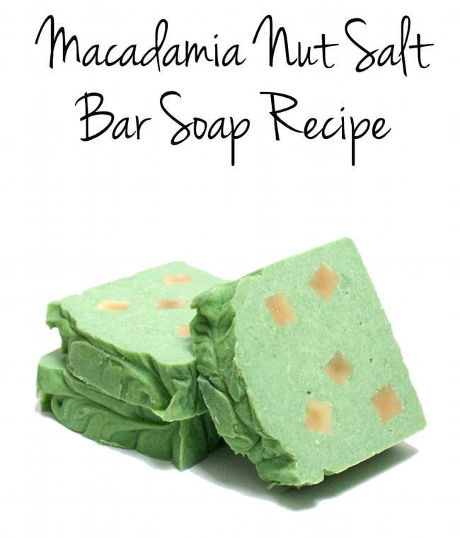 Palm Free Cold Process Macadamia Nut Salt Bar Soap Recipe