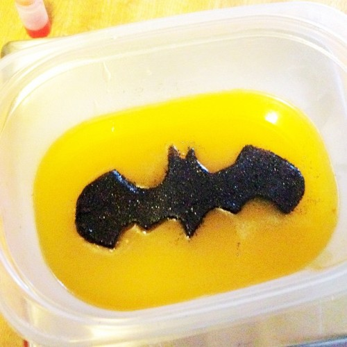 Try this DIY Halloween craft project for making a DIY Batman Soap that uses everyday kitchen containers as soap molds!