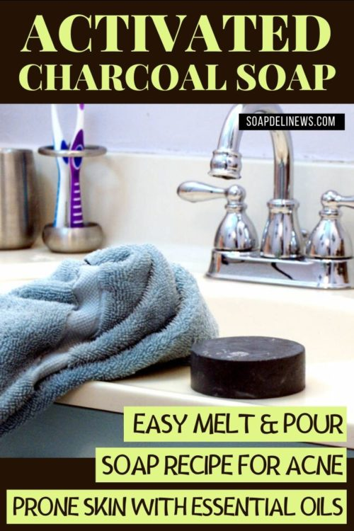 Easy activated charcoal melt and pour soap recipe with acne fighting essential oils. If you're not quite ready to work with lye but want to make a natural facial soap with activated charcoal, then try this easy melt and pour soap recipe for beginners! This homemade no lye activated charcoal melt and pour soap recipe is not only quick and easy to make. It's also a great addition to your natural skin care routine as part of your daily beauty regimen for acne free skin. Help prevent acne and promote healing with this natural melt and pour soap recipe that even beginning soapmakers can craft at home!