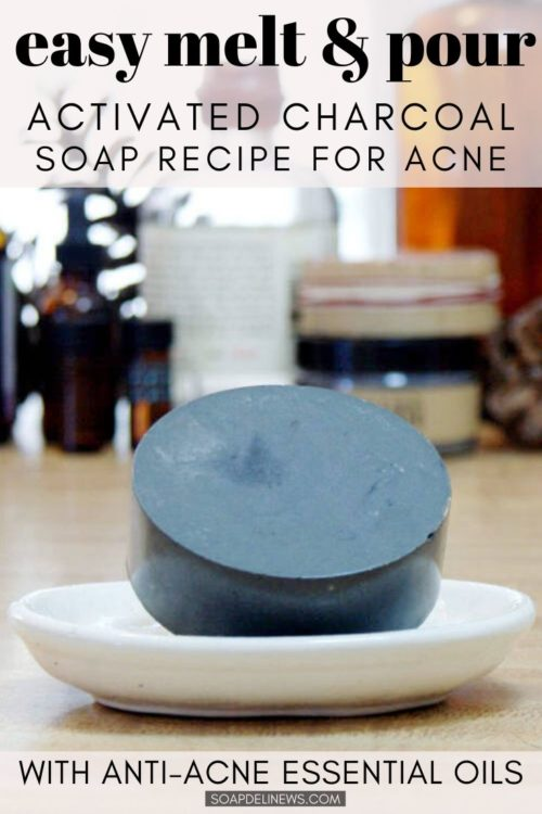 Easy activated charcoal melt and pour soap recipe for beginners with an acne fighting essential oil blend. If you're not quite ready to work with lye but want to make a natural facial soap with activated charcoal, then try this easy melt and pour soap recipe for beginners! This homemade no lye activated charcoal melt and pour soap recipe is not only quick and easy to make. It's also a great addition to your natural skin care routine as part of your daily beauty regimen for acne free skin. Help prevent acne and promote healing with this natural melt and pour soap recipe that even beginning soapmakers can craft at home!