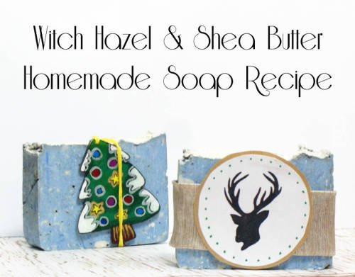 Witch Hazel Soap Recipe and Homemade Christmas Gift Idea! This soothing shea butter & witch hazel soap recipe contains witch hazel extract renowned for its astringent, anti-inflammatory and antiseptic properties. Find the soapmaking tutorial for this fabulous gift worthy shea butter and witch hazel soap now at Soap Deli News blog! #soap #soapmaking #diy #gift #crafts #christmas