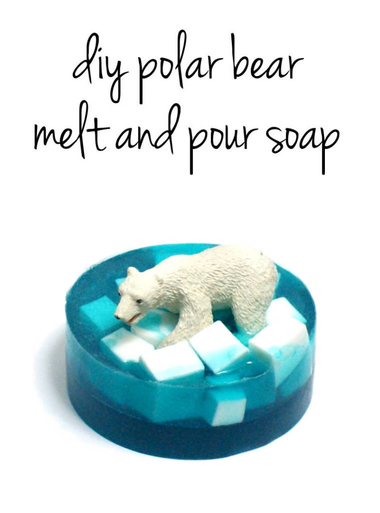 Easy Melt and Pour Polar Bear Soap Tutorial - These make fun homemade Christmas gifts and DIY stocking stuffers!