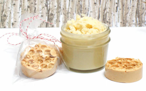 DIY body butter with hemp seed oil for your winter skin care routine. This homemade vanilla fig scented non-greasy body butter makes a great DIY Christmas gift idea when paired with homemade honeycomb soaps! Learn how to make yours for DIY holiday gifts today!