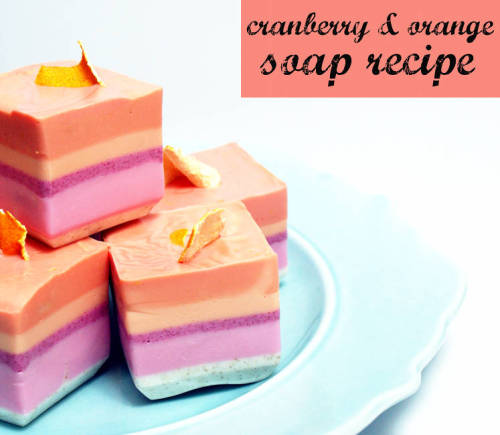 This easy to craft festive holiday homemade cranberry orange soap recipe is perfectly sized for homemade stocking stuffer gifts this Christmas!