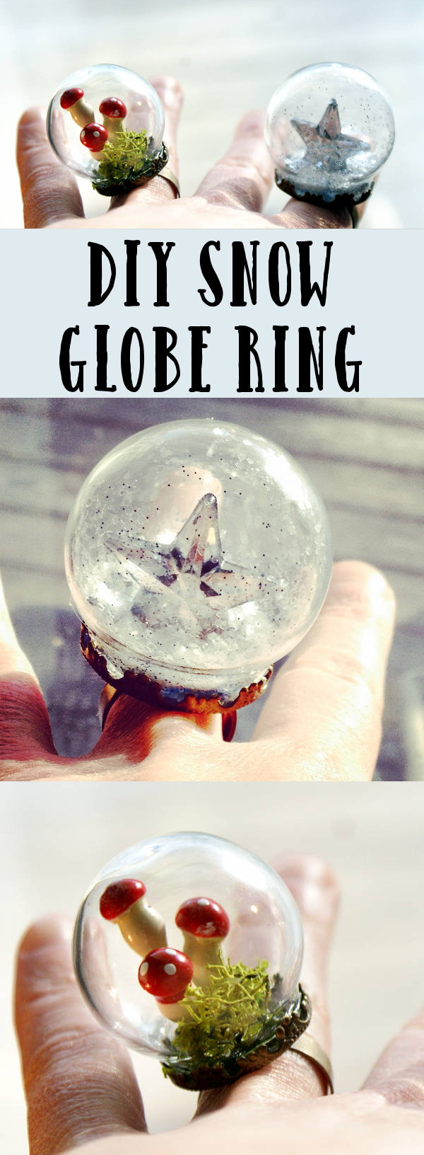 DIY Snow Globe Ring Gift Idea! This starry DIY snow globe ring makes a fun and unique homemade Christmas gift!