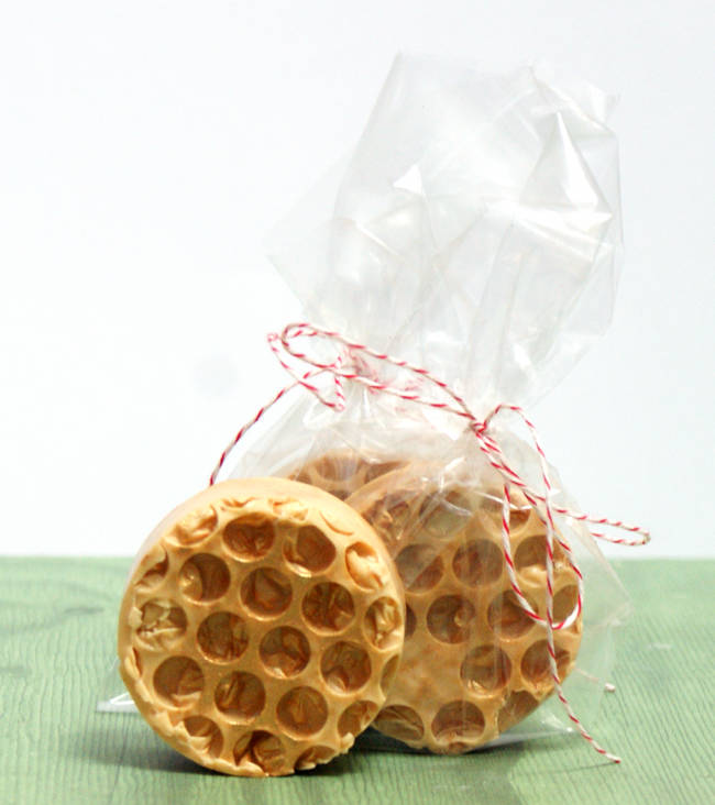 This homemade honeycomb soap recipe is so easy to make and includes bee pollen praised for its soothing skin properties. Makes a thoughtful homemade gift idea for the holidays.