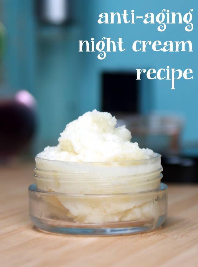You'll love this Anti-Aging Night Cream Recipe! Offering a chemical free way to attain a more youthful appearance, this natural DIY anti-aging night cream is free of harmful toxins and it helps to reduce the signs of aging naturally! Ingredients like coconut water, cocoa butter, evening primrose and rosehip seed oil help you achieve healthier looking, more beautiful skin naturally! #antiaging #skincare #beauty #diy #recipe #nightcream #naturalbeauty #naturalskincare #coconut #health