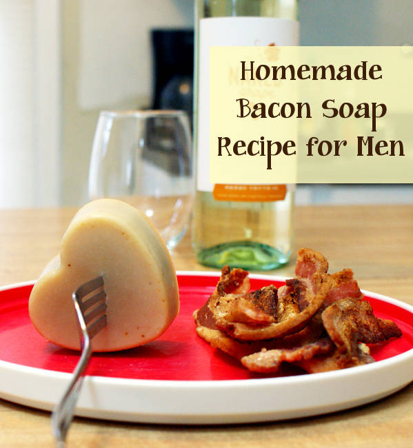 This homemade bacon soap recipe makes a great DIY Valentine's Day gift idea for men! Made with real bacon fat this homemade soap recipe yields a hard, extra conditioning soap that can either smell like bacon or any other scent of your choice!