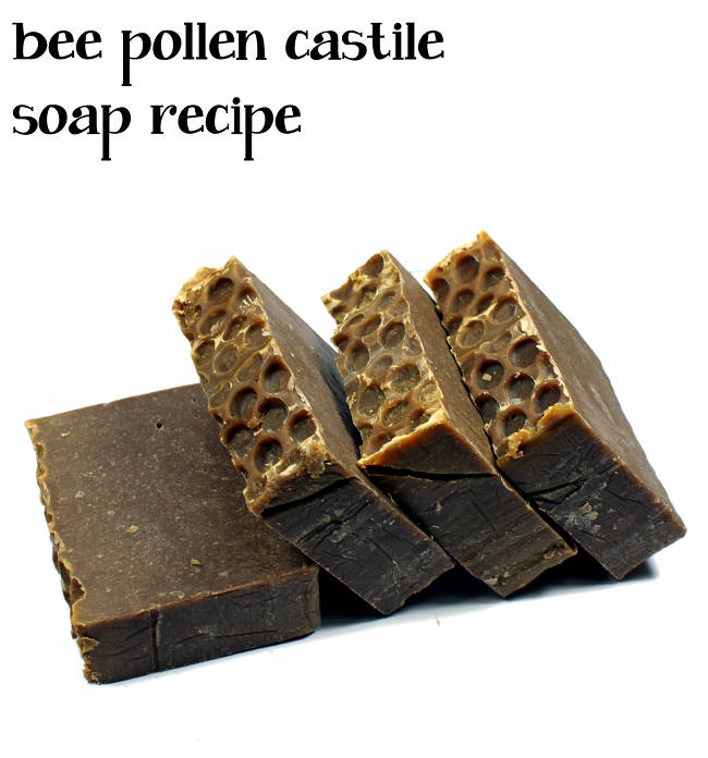 This homemade Castile soap recipe is made with bee pollen powder which has skin soothing and anti-inflammatory properties.