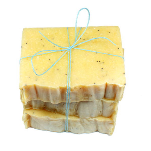 This homemade nut free soap recipe contains zero nut oils so even those with nut allergies can enjoy this classically scented lemon poppyseed soap.