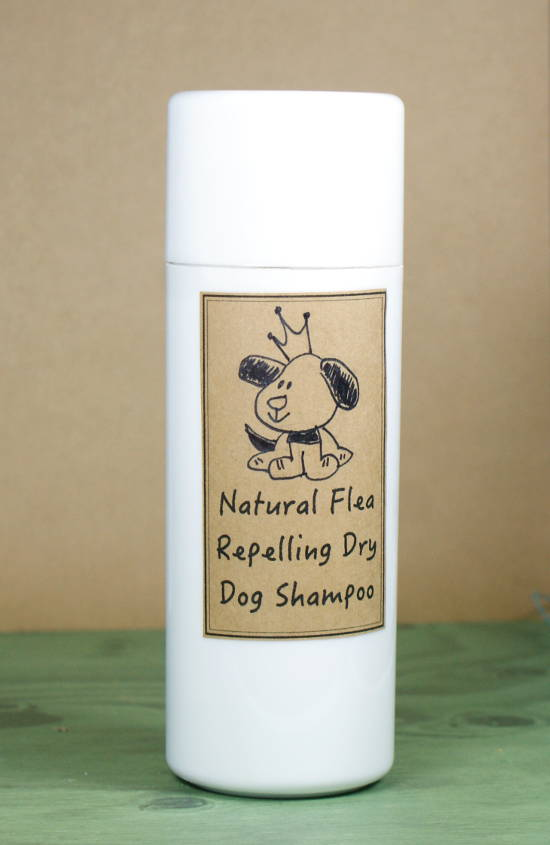This dry dog shampoo recipe is made with all natural ingredients that deodorize your dog's coat while also helping to repel fleas.