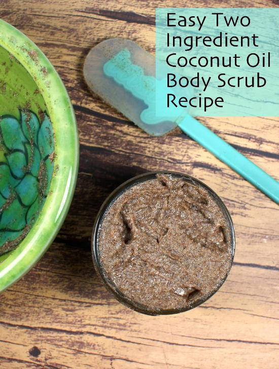This two-ingredient easy coconut oil body scrub recipe is made without salt or sugar! It's perfect for exfoliating and moisturizing dry skin!