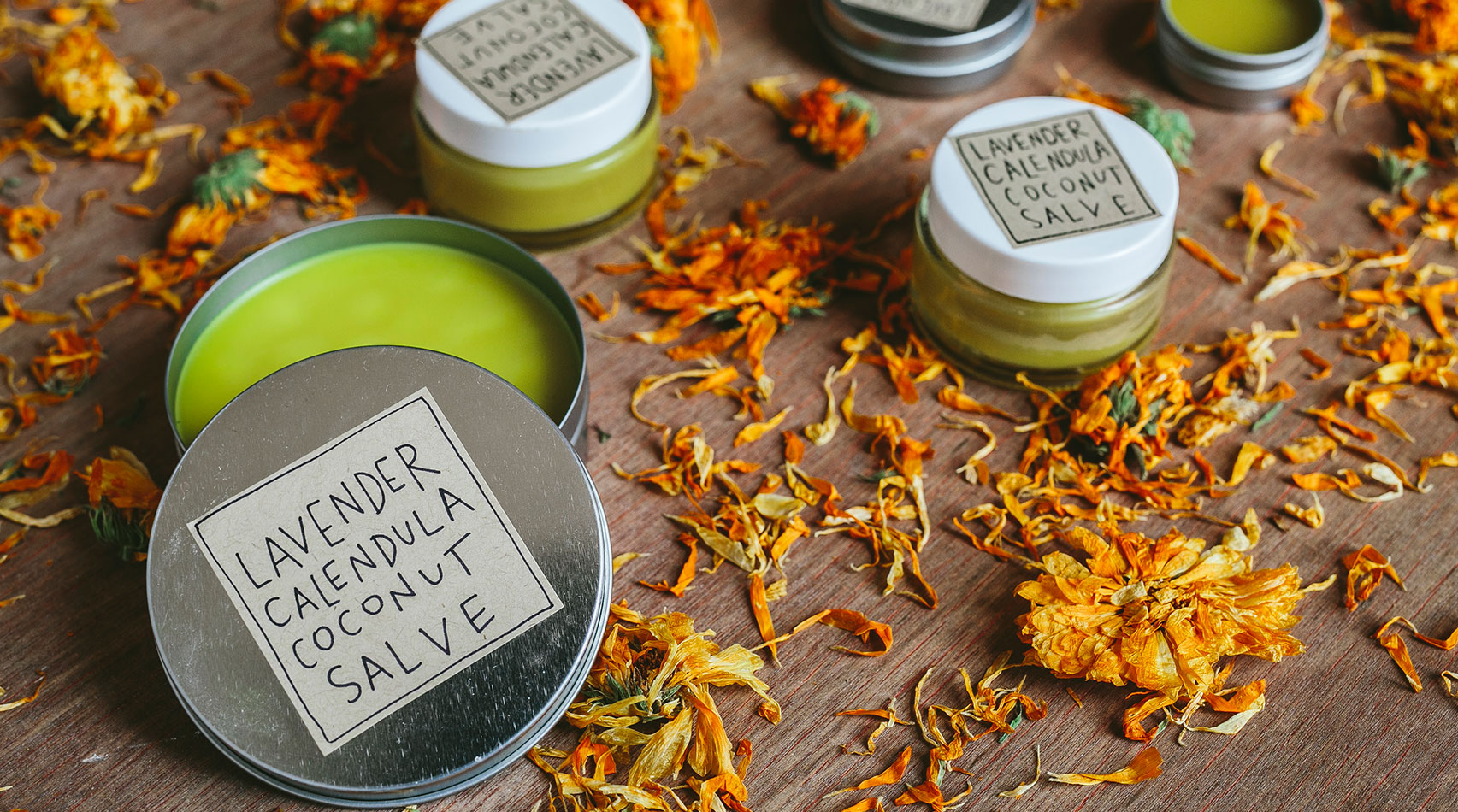 Learn how to make this homemade lavender calendula coconut salve recipe via Medicinal Traditionals! It nourishes and soothes dry skin and can also be used as a healing lip balm!