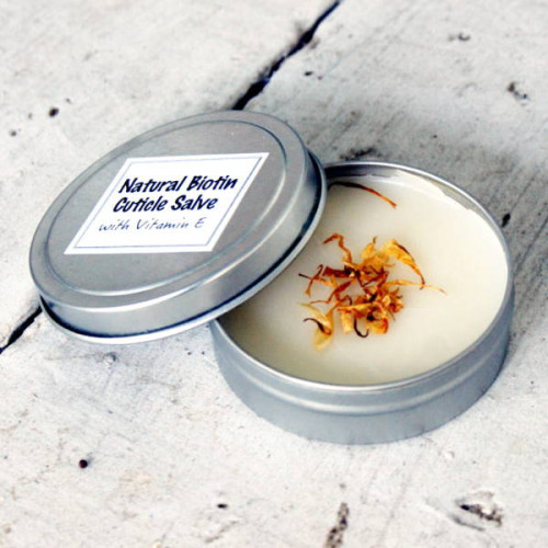 This homemade cuticle salve recipe contains biotin, also know as vitamin B7 or vitamin H, and is believed to help with healthy skin, hair and nails.