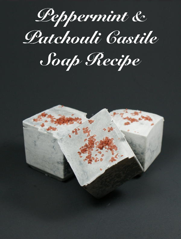This homemade peppermint and patchouli Castile soap recipe lends a fun twist to a basic Castile soap.