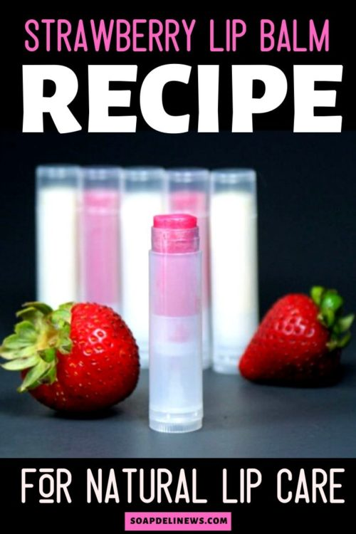 Strawberry lip balm recipe. Get healthy looking lips with this beauty DIY for natural lip care for smooth, soft lips. The perfect addition to your DIY beauty regimen, this strawberry flavored lip balm DIY can be tinted for a fun, sheer DIY lip tint or a bold pop of lipstick color. A fun DIY beauty recipe, this homemade strawberry lip balm recipe is keeps your lips looking healthy spring through summer. It's quick and easy to make too! Natural lip balm recipe.