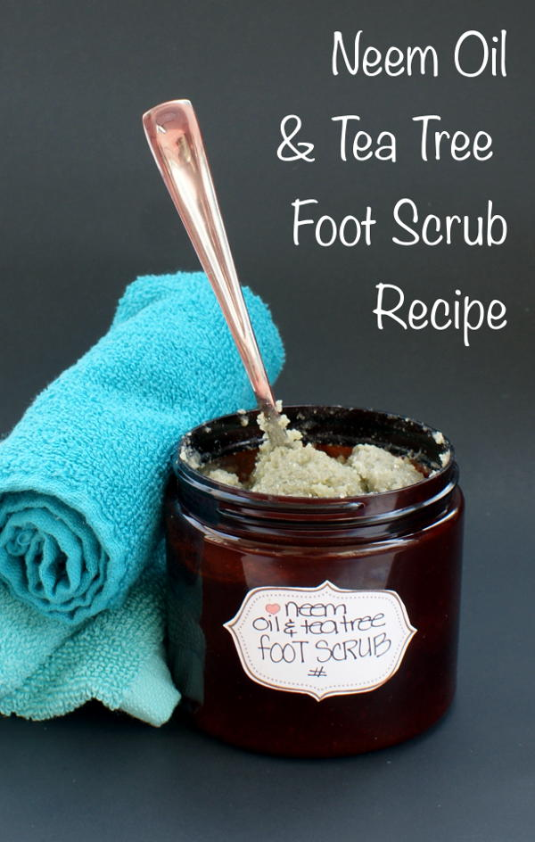 This natural neem oil and tea tree foot scrub recipe helps keep feet looking great with exfoliating salt and pumice and anti-fungal neem and tea tree oils.