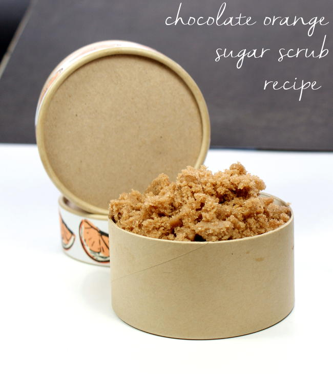 This homemade chocolate orange sugar scrub recipe is made with real cocoa powder as well as skin nourishing shea and cocoa butters. Not only does it smells great but but it's also fabulous paired with my matching non-greasy chocolate orange body butter recipe for a fantastic homemade gift set perfect for bath and body lovers!