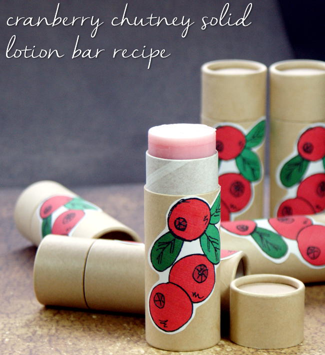 This cranberry chutney homemade solid lotion bar recipe makes a wonderful last minute DIY stocking stuffer or homemade Christmas gift! Eco-friendly packaging makes it convenient and less messy while printable cranberry labels lend a personal touch.