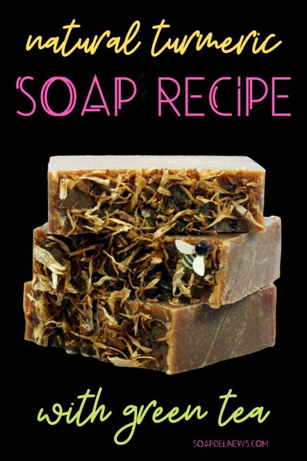 Turmeric soap recipe with green tea. Learn about the skin lightening benefits of turmeric and the anti-aging skin care benefits of green tea. Then combine them to make this DIY turmeric soap for your natural beauty regimen for glowing skin. Craft a convenient, everyday natural skin care product that harnesses the benefits of turmeric and green tea for their anti-inflammatory, antioxidant and skin lightening properties. Care for your skin with this simple green beauty product for clean beauty.