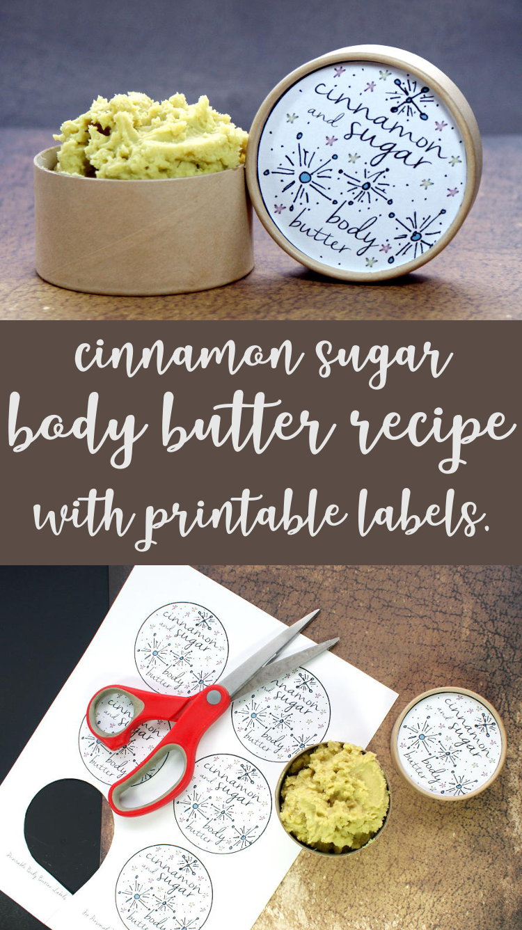 Homemade Christmas Gift Idea! Make this amazing cinnamon sugar scented body butter recipe for DIY gifts this holiday season! This cinnamon sugar homemade non-greasy body butter recipe combines vanilla, warm ginger, cinnamon and cardamom fragrance notes with a rich, moisturizing formula that melts into skin on contact and leaves skin feeling luxuriously soft and supple with a non-greasy feel once absorbed.