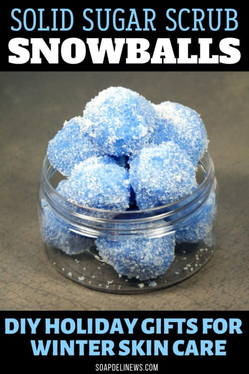 DIY Solid Sugar Scrub Snowballs for Holiday Gifts & Winter Skin Care. Need DIY holiday gift ideas? These DIY solid sugar scrub snowballs are the perfect bath time treat for Lush addicts. Made with moisturizing body butters, exfoliating sugar and coconut oil, these solid sugar scrub snowballs are a winter delight for any gift recipient this winter. Learn how to make your own in shower DIY solid sugar scrub snowfalls as a treat for dry skin this winter.