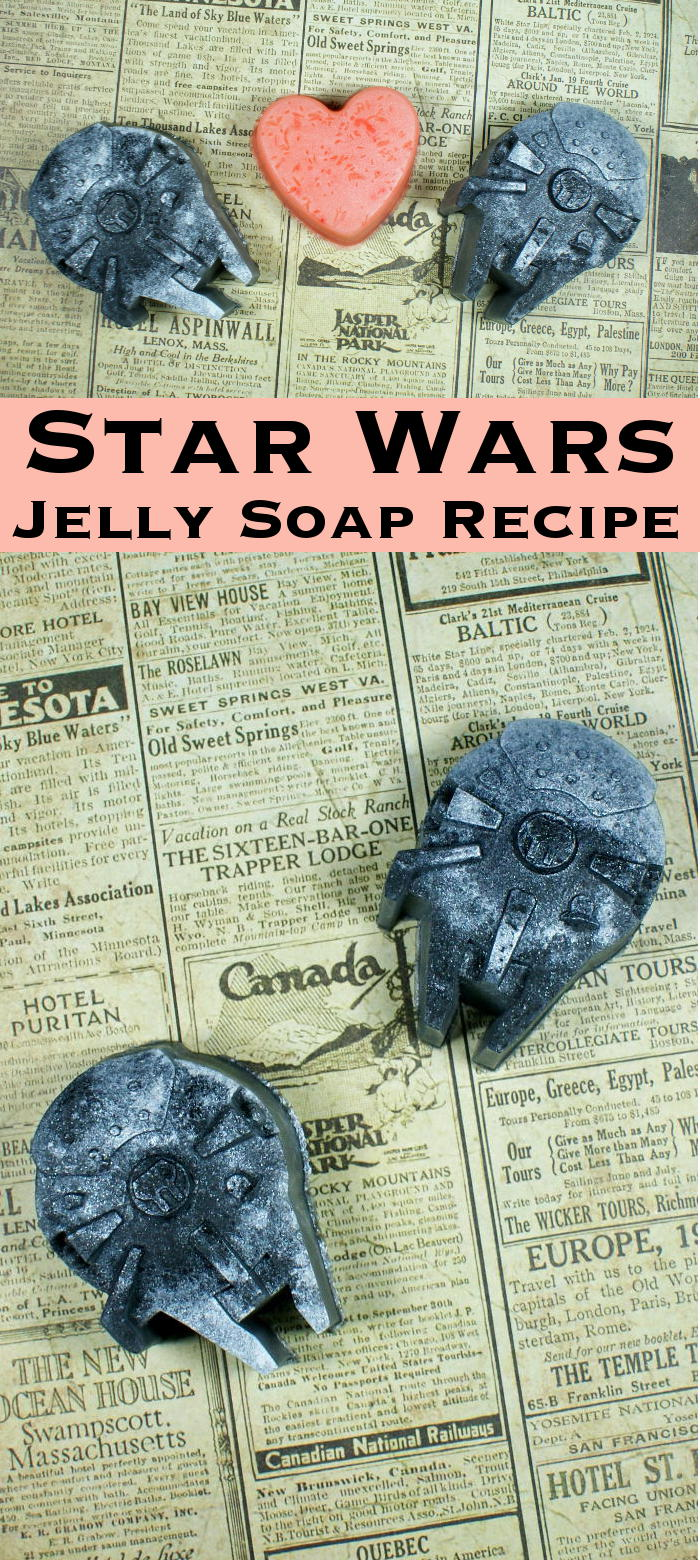 This Star Wars Jelly Soap Recipe features miniature Millennium Falcons and Heart soaps that make wonderful DIY Valentine's Day gifts for any Star Wars fan!