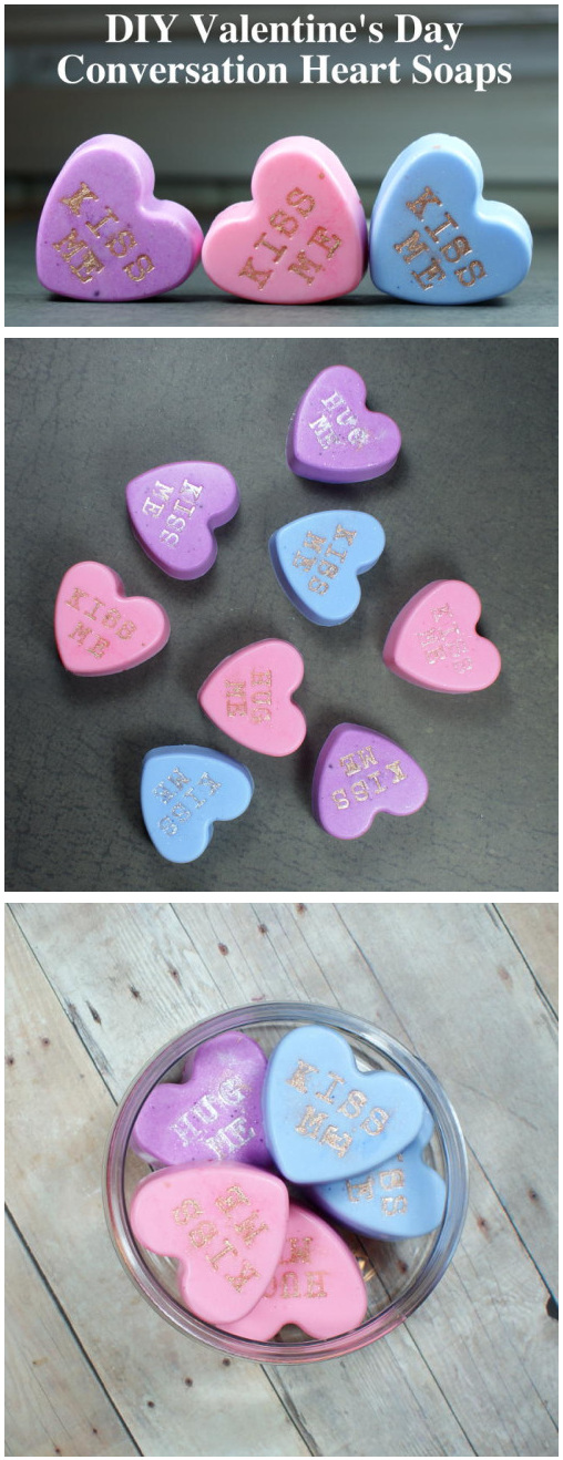 These DIY conversation heart soaps are so easy to create and make lovely homemade Valentine's Day gifts! Made from a melt and pour soap base, these conversation heart soaps can be made in an afternoon and ready to gift the same day.