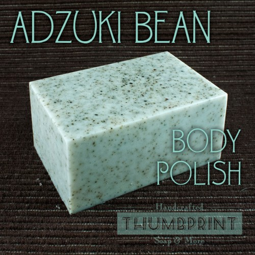 Learn how to make this fun melt and pour soap recipe for making an Adzuki Bean Body Polish Soap via Thumbprint Soap blog. Made using SFIC's natural glycerin soap base and finely ground Adzuki Beans, this homemade melt and pour soap recipe is scented with natural sandalwood essential oil.