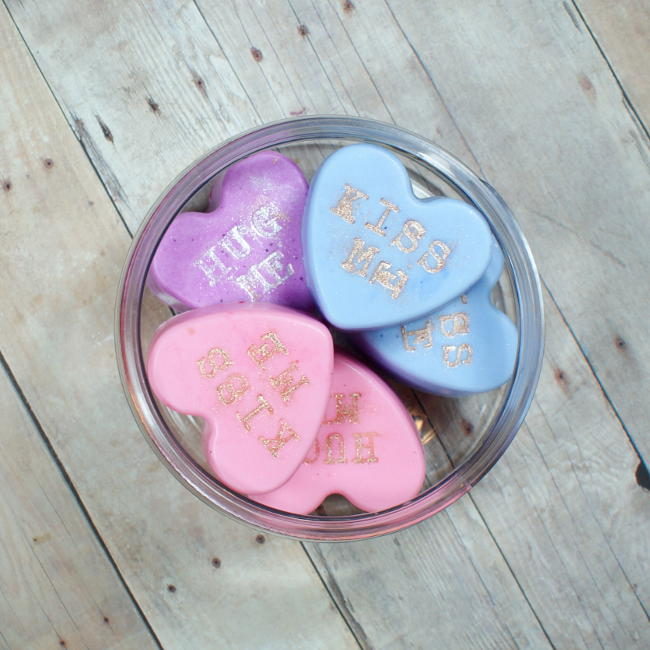 These DIY Conversation Heart Soaps are so easy to make and make lovely homemade Valentine's Day gifts!