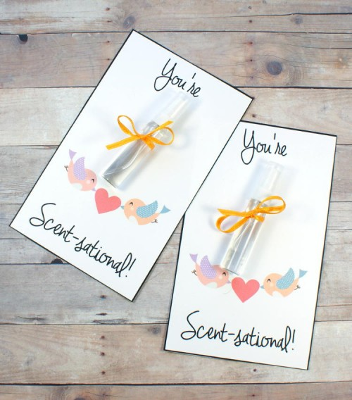 Free printable Valentines cards for friends. Create custom scented mini perfume sprays to go along with these You're Scent-sational! free printable Valentines cards for your besties this Valentine's Day!