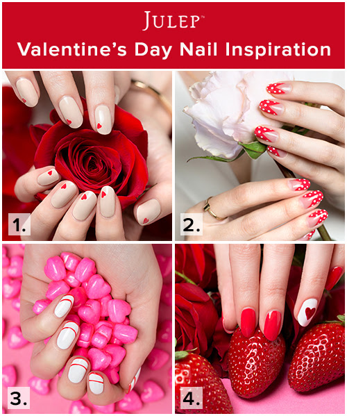 Fun DIY Valentine's Day nail inspiration from Julep! Brighten up your day with one of these super-cute nail looks that are perfect for Valentine's Day.