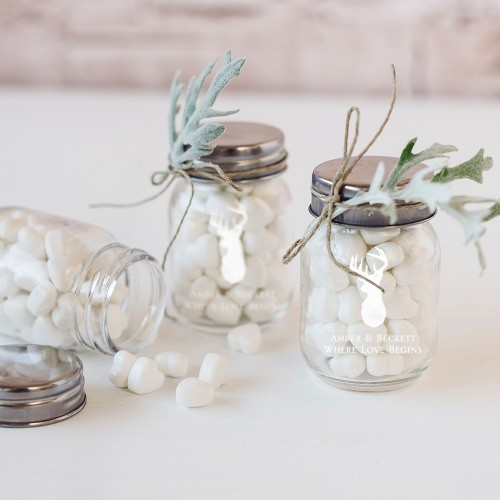 Creating DIY wedding favors? These mini printed mason jars make the perfect containers for homemade solid sugar scrub cubes! Click through for an easy, all natural solid sugar scrub cube recipe you can create and gift!