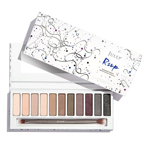 Julep's RSVP eyeshadow palette - This palette contains eleven soiree-minded shadows that layer and blend easily. In addition, these shadows contain the smoothing, nourishing benefits of Power Cell Complex™, a Julep-exclusive blend of age-defying, skin-boosting, ultra-hydrating ingredients including rosehip seed oil for essential nutrients that soothe and repair, Malvaceae Lipid Extract™ which improves barrier function so skin retains moisture and green coffee bean oil to invigorate skin.
