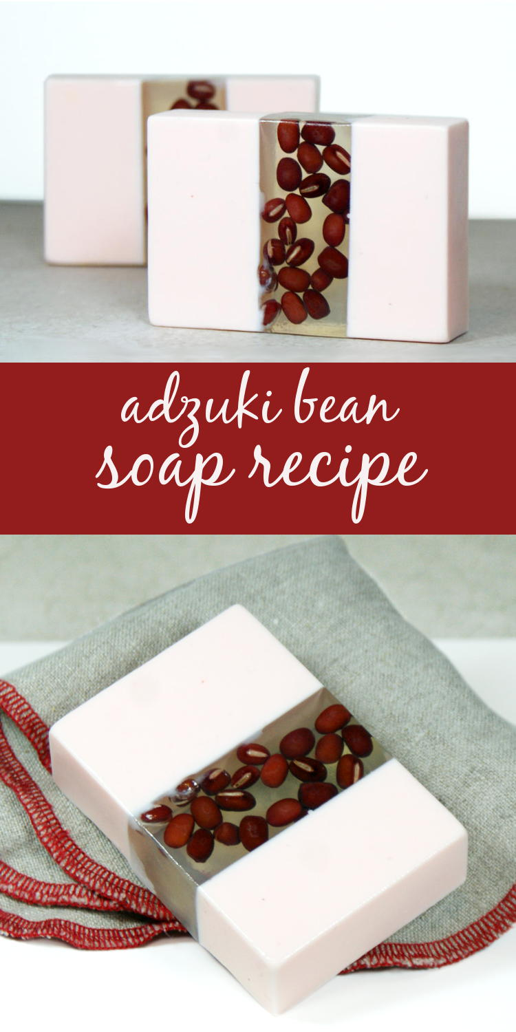 This adzuki bean soap recipe highlights the beauty of adzuki beans by combining both clear and opaque melt and pour soap bases.