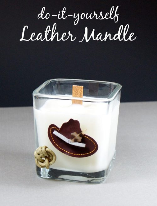 Learn how to make this leather scented mandle for Dad as a DIY Father's day gift! This mandle DIY is quick and easy and can be made and gifted in the same afternoon. What's a mandle? Why, a man candle of course!