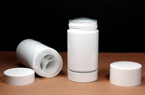 White Styrene Twist Up Deodorant Tubes with White Screw Caps and Discs