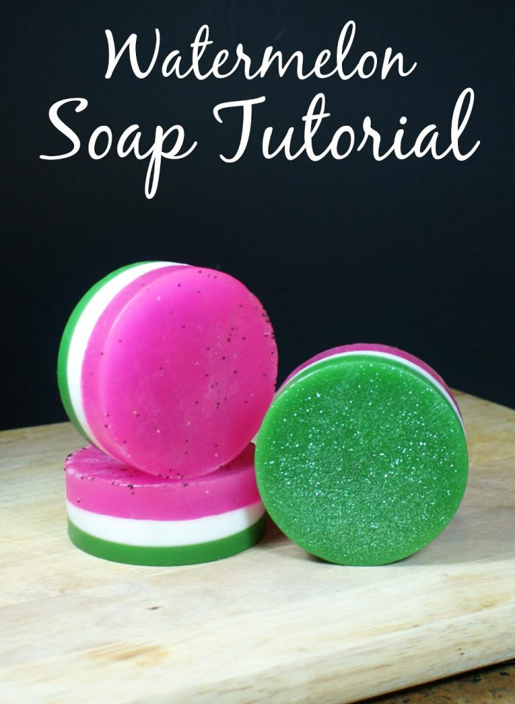 This easy watermelon soap recipe is perfect for summer and incorporates not only a fun watermelon, but also shimmering cosmetic glitter!