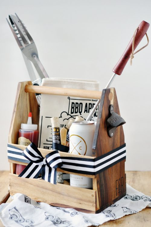 DIY Cookout Kit Gift for Father's Day - This DIY Cookout Kit via Lark and Linen is an easy assemblage of tools and ingredients that will help Dad grill the best of the best all summer long.